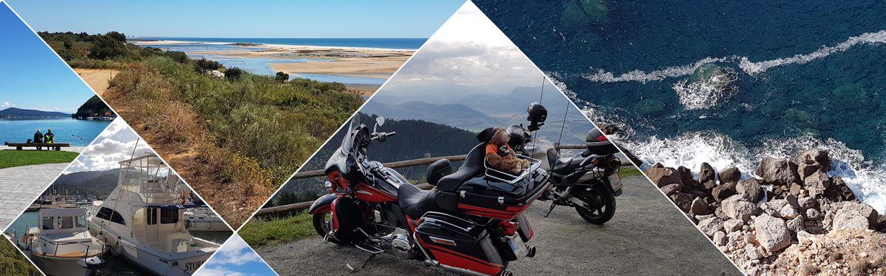 Dieses Bild zeigt einige Eindrücke von Landschaften die man auf Urlaubsreisen mit M-Motorradreisen zu sehen bekommt