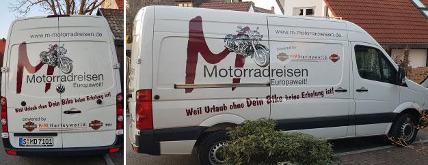 Aktuelles Werbefahrzeug von M-Motorradreisen.