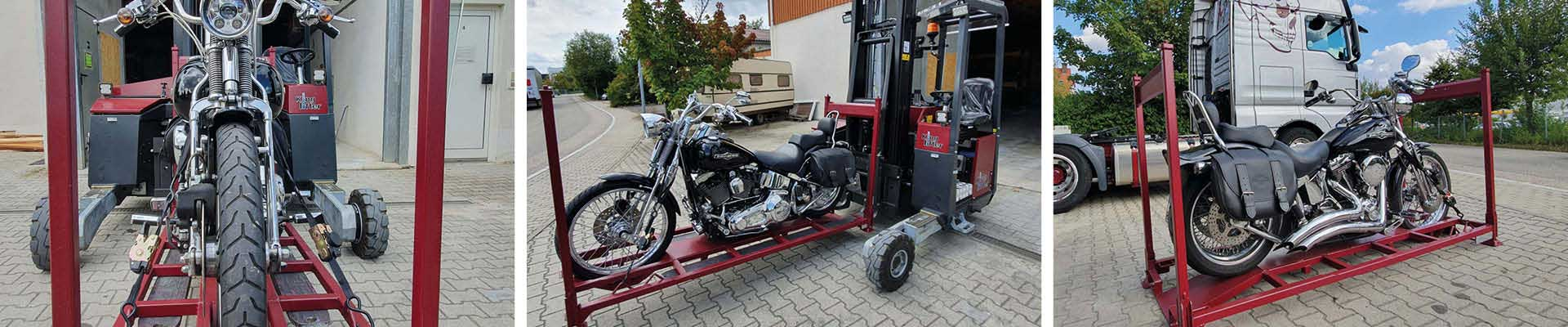 M-Motorradreisen Ständer für die Lagerung der Motorräder