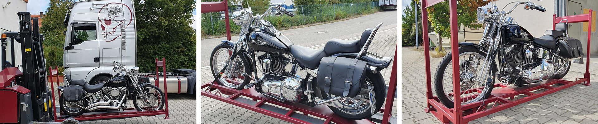 M-Motorradreisen Gestelle für die Lagerung der Motorräder