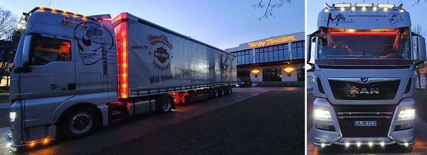 LKW von M-Motorradreisen vor House of Flames Germany