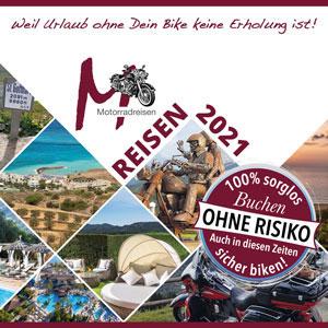 Alle Reiseangebote für 2021 als Broschüre von M-Motorradreisen